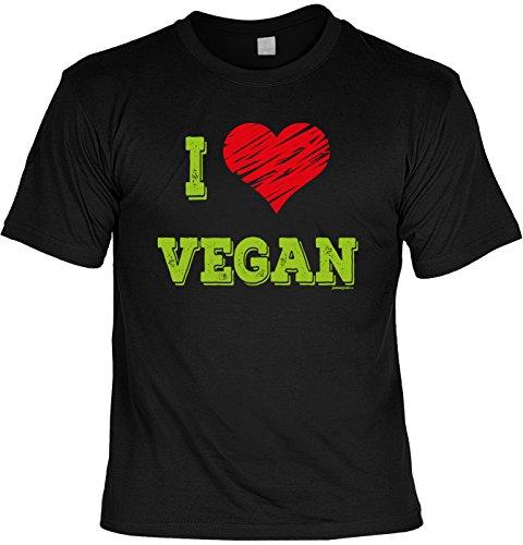 Griller T-Shirt - I Love VEGAN - FunHemd für BBQ und Grillen Schwarz
