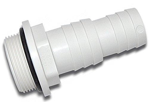 Schlauchtülle abgestuft | Außengewinde mit O-Ring | weiß | R 11/2 Zoll x Ø 38 / 32 mm