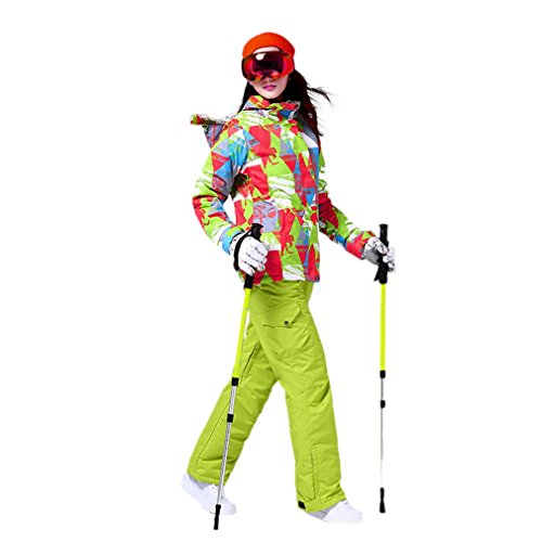 GOMYHOM Damen Ski-Anzüge Jacke + Hosen, Snowboard-Ski-Anzug Sport Wasserdicht Winddicht Breathable (M, Green)