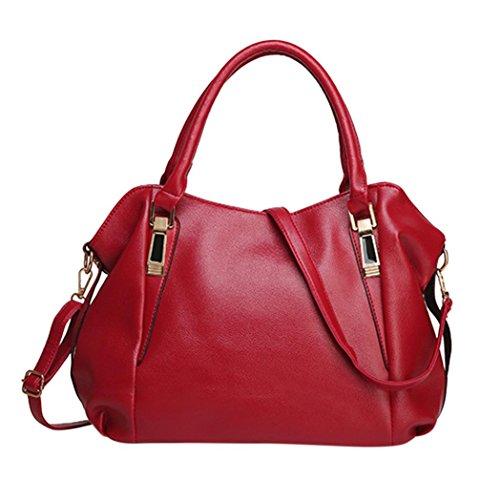 Rot Satchel Tasche (Fashion Damen Leder Handtasche Schultertasche Umhängetasche Tasche rot)