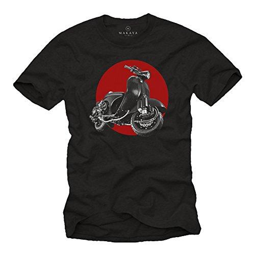 MAKAYA Vintage T-Shirt - Tuning Moto - Scooter Accesorios - Camiseta Motera Hombre Negro XL