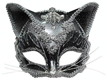 Jewelled Cat Face Mask Masquerade Ball Fancy Dress