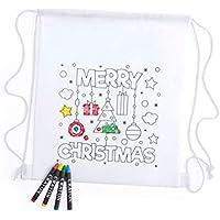 Lote de 20 Mochilas Infantiles Navidad para Colorear con 4 Ceras Incluidas, Motivos Navideños -