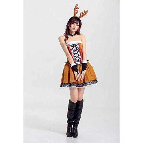 KAIDILA Weihnachtskostüm Kostüm Sexy Cosplay Rentier Spielen Christmas Club Performance Kostüm Ds Performance Kostüm Khaki Eroti C Spielen - Sexy Rentier Kostüm