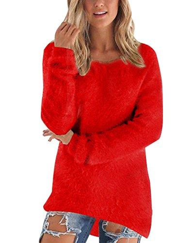 Señoras Suéter Largo De La Camisa De Gran Tamaño De Cuello Redondo Vestido Rojo XL