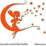 Hada con luna, estrellas y columpios woooowltd 30 cm x 28 cm color naranja hada, sprite, peri, fay, dormitorio, cuarto de niños pegatinas de pared, vinilo del coche, las ventanas y pared, ventanas de pared arte, etiquetas, adorno adhesivo de vinilo ThatVinylPlace