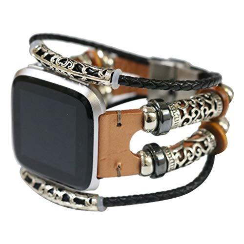 WAOTIER für Fitbit Versa Armband Leder Armband mit Antike Deko Retro Armband für Fitbit Versa und für Fitbit Versa Lite Armband mit Edelstahl Verschluss Armband für Frauen Mädchen (Gold) (Titan Halsketten Prime)