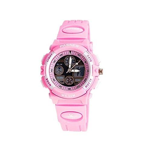 Pasnew 30m Water-proof Digital-analog Boys Girls Sport Digital Watch with Alarm Stopwatch Chronograph (Child)Pink