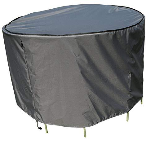 SORARA Housse de Protection Table Ronde | Ø 153 x 90 cm (L/L x H) | Gris | Résistant à l'eau Polyester & Revêtement PU | pour Jardin, Terrasse, Meubles | Qualité