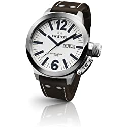 TW Steel Unisex Quartz Watch with White Dial Analogue Display and Brown Leather Strap CE1005