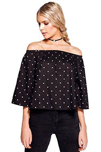 Noir Femmes Abigail Top Bardot En Coton Imprimé Étoiles Noir