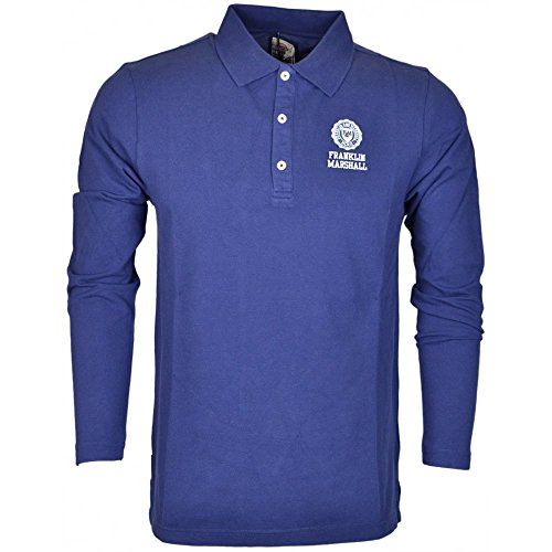 Franklin-Marshall-MF420-Pique-Long-Sleeve-Navy-Polo