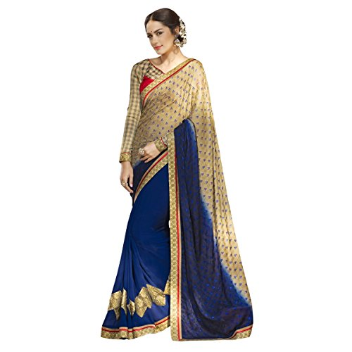 Aagaman Fashions Faux Georgette & Jacquard Saree (PTSN600021_Blue)  available at amazon for Rs.1369
