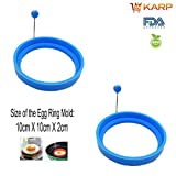 #8: Egg Mold - Set Of 2 Round Shape Silicone Nonstick Omelette Pancake Fried Egg Ring Mold Egg Shaper Egg Poacher - Perfect For Stunning Breakfasts Fried Egg Pancake Sandwiches Pancake Burgers and Many More By KARP - Sky Blue Color