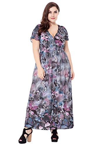 YiJee Damen Übergröße Blumendruck Kleid Kurzarm Sommerkleid Hohe Taille Strandkleidung Grau Blau