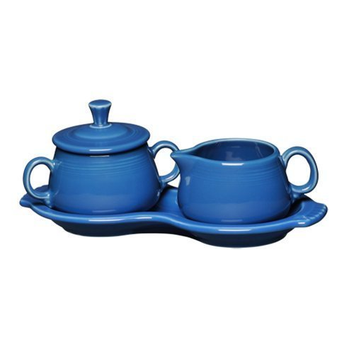 Fiesta Covered Creamer and Sugar Set with Tray, Lapis by Homer Laughlin Creamer Tray Set