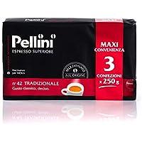 Pellini Caffè, Café Molido para Máquina Moka Gusto Tradizionale No. 42 - 3 x 250 gr (750 gr)