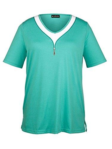 Damen Shirt mit raffinierter Ausschnittvariante by m. collection Smaragd/Weiß