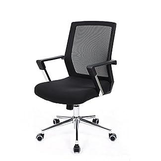 Songmics Silla giratoria de oficina Silla de escritorio de malla Altura ajustable Negro OBN83B
