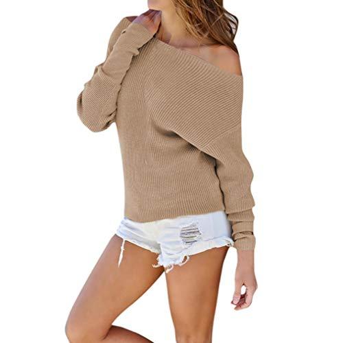 Yazidan Sweatshirt Mode Damen Grau Gestrickt Einfarbig Lange Ärmel Aus der Schulter T-Shirt Sexy...