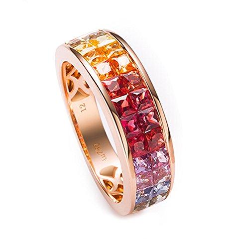 Epinki 18K Gold Ringe,2.5Ct Quadrat mit Zertifiziert Diamant Saphir Rubin Ringe Solitärring Verlobungsringe für Damen Gr.56 (17.8) -