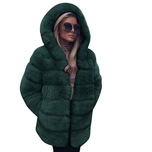 feiXIANG Damen Mantel Winter Frauen Trenchcoat mit Kapuze Faux-Pelz Coat winddichter Parka Wintermantel Outdoor Jacke (Grün,3XL)