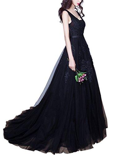 CoutureBridal® Robe Elégante Robe de Soirée Bal Cocktail V-Col Broderie 2016 Noir