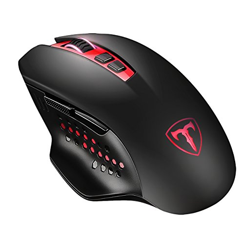 Patuoxun 4800 DPI Gaming Maus 2.4G Wireless 7 Tasten Gaming Mouse mit verstellbarem DPI (800, 1200, 1600, 2000, 4800) für PC Laptop Notebook (Rot)
