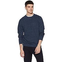 Jockey Men's Solid Regular Fit T-Shirt (2716-0103-BUSML_Blue Snow Melange_Medium)