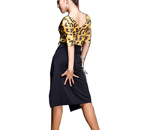 Latin dress Split long sexy skirt Cha Cha skirts Ballroom skirt Leopard