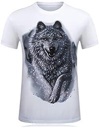 Cayuan T-Shirt Hombre 3D Rhino Gráficos Camisetas de Manga Corta Estampados Verano Camiseta Divertidas Streetwear