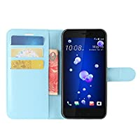 HTC U11 Life Case, HualuBro Premium PU Leather Wallet Flip Phone Protective Case Cover with Card Slots for HTC U11 Life Smartphone (Blue)