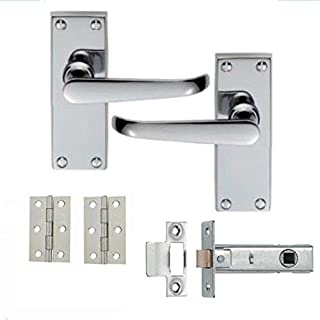 5 Sets of Victorian Straight Latch Door Handles Polished Chrome Hinges & Latches Pack Sets 120MM X 40MM