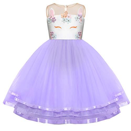 Mädchen Einhorn Blume Kleid Cosplay Hochzeit Geburtstagsfeier Party Kostüm Prinzessin Kleider für (3t Einhorn Kostüm)