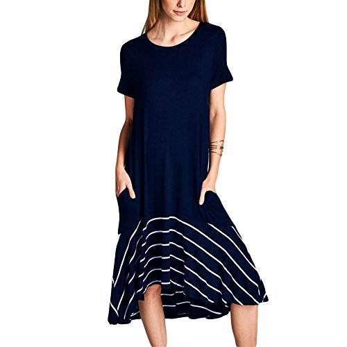 Ancapelion Damen Sommerkleid Kurzarm Loses Kleid Midi Kleider Rundhals Casual T-Shirt Kleider mit Tasche Blau -