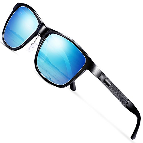 wearpro Sonnenbrille Herren Polarisierte Fahren Brillen Polarisierte Sonnenbrille Damen Al-Mg Metall Rahme Ultra Leicht Sportbrille WP2018 (Blau)