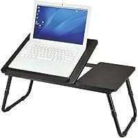 Ribelli Laptoptisch schwarz als Tabletttisch fürs Bett oder Sofa aus Holz - Tablet-Halterung faltbar für Laptop oder Bücher - Betttisch höhenverstellbar ca. 60 x 34 x 25 cm