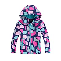 M2C Girls Hooded Fleece Lined Printed Water Resistant Jackets