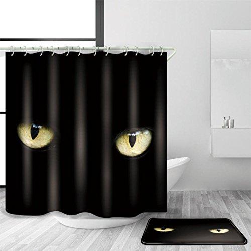 sätze Duschvorhang mit Matten-Klage mit 12 Plastikhaken Mehrfache Größen Minimalismus 3D Digitaldruck Antimikrobielles Mildewproof Polyester Halloween Bad Dekor, 180 x 200 cm (Klage Für Halloween)