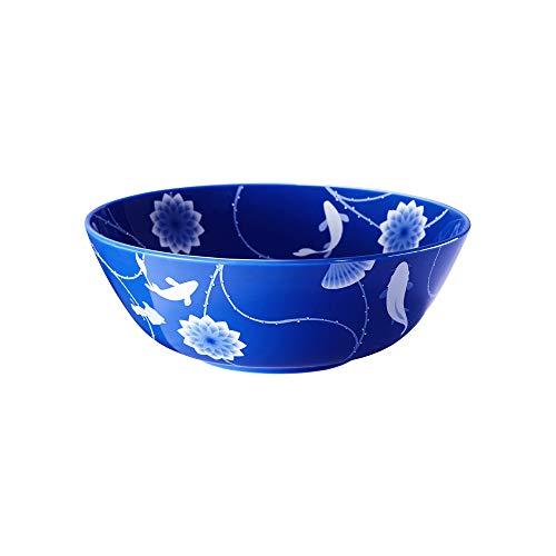 ZENS Bols saladiers Fruits, Bols Japonais, Bol à Soupe, Bowl Salade en Porcelaine Fine à la Cendre d'os, Motif Lotus et Poisson en Bleu Successive