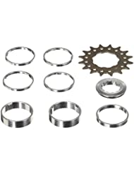 Point - Juego de piñones y distanciadores (acero CrMo, aluminio, 4 x 3 mm, 1 x 5 mm, 2 x 10 mm) multicolor plateado/negro Talla:16 Zähne