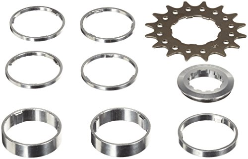 Point Ritzel single-speed/Distanzring-Set, Cr-Mo Stahl, Distanzring Aluminium, Distanzring-Set 4x3 mm/1x5 mm/2x10mm, silber-schwarz, 16 Zähne, 02020005 (Speed Ring-kit)