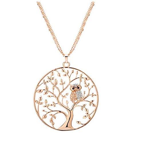 Offerte di liquidazione, fittingran collana albero strass forma di gufo collana scultura traforata catena maglione accessori per gioielli da donna (oro)