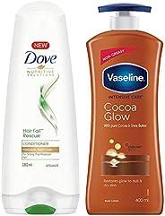Dove Hair Fall Rescue Conditioner, 180ml & Vaseline Intensive Care Cocoa Glow Body Lotion, 400 ml