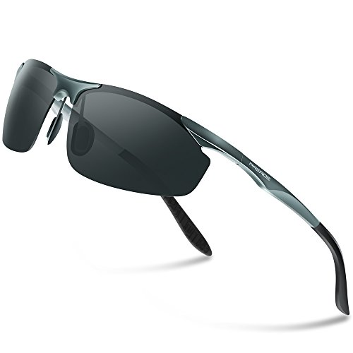 PAERDE Herren Sport Stil Polarisierte Sonnenbrille Metallrahmen Brille PA30 8179 (Grau)