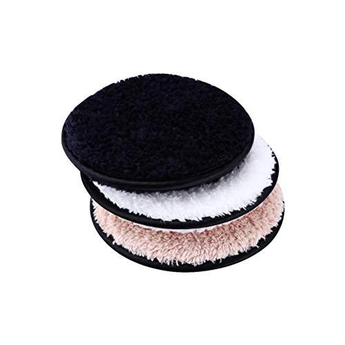 Lurrose 3pcs Makeup Remover Pads Lavables Visage Démaquillant Lavable Peluche Réutilisable (Blanc + Café + Noir)