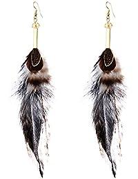 dcf4a22551e3 Lureme joyas de bohemia naturales faisán plumas cuelgan los pendientes para  las mujeres niñas (er005515