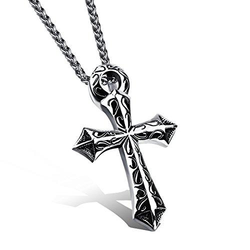 Collar con colgante de cruz de dragón y espada de acero inoxidable de titanio, para hombres y mujeres