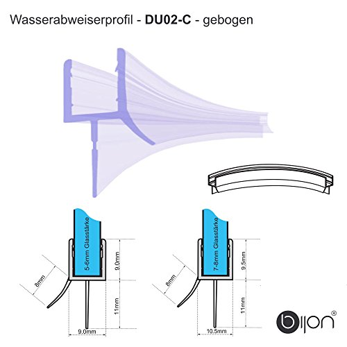 50cm Wasserabweisprofil gebogen für 6mm Glas | DU02-C (50 Gebogenes Glas)