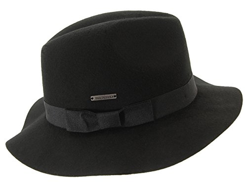 Seeberger Serie Lindenberg, Chapeau Fedora Femme Noir - Schwarz (schwarz 10)